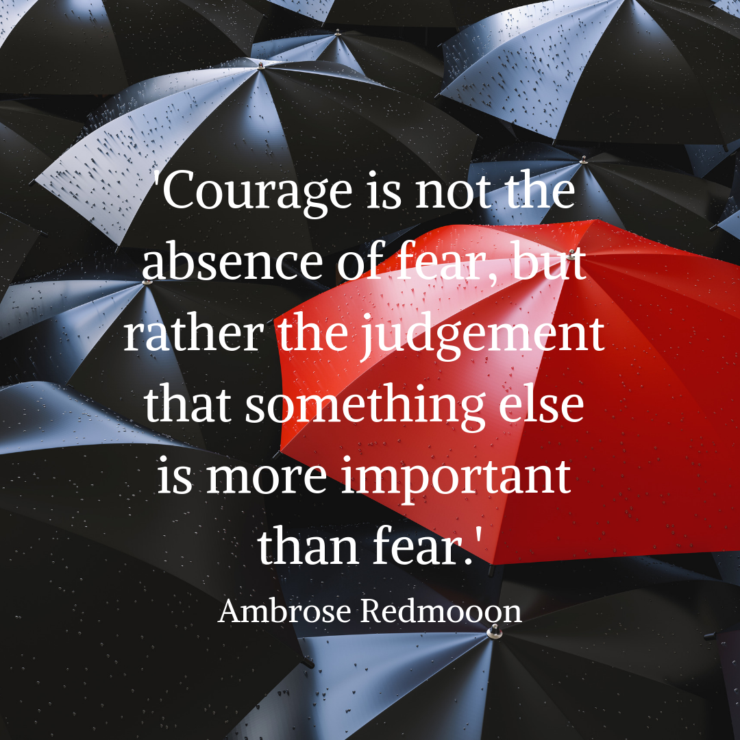 'Courage is not the absence of fear, but rather the judgement that something else is more important than fear.' Ambrose Redmoon.png